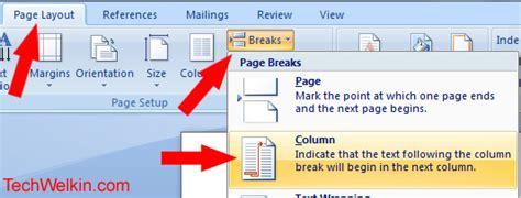 word layout break ms word how to insert column break in two column layout