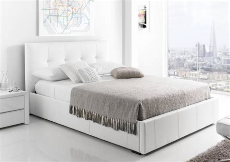 white bed kaydian hexham upholstered storage drawer bed white leather storage beds beds
