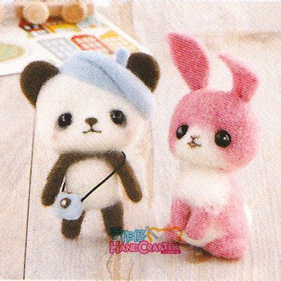 diy handmade wool felt kit pink bunny and panda with hats