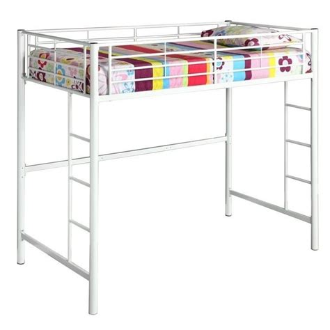 white metal loft bed metal twin loft bunk bed in white finish btolwh