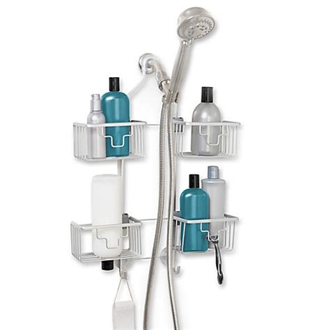 shower caddy bed bath and beyond never rust expandable shower caddy in aluminum bed bath