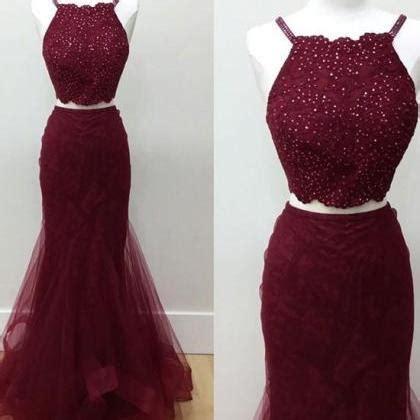 Wst 7760 One Sleeve Mermaid Maxi Dress selling two mermaid halter burgundy prom dress with beading on luulla