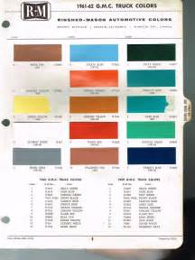 1961 1962 gmc truck color chip paint sample brochure chart