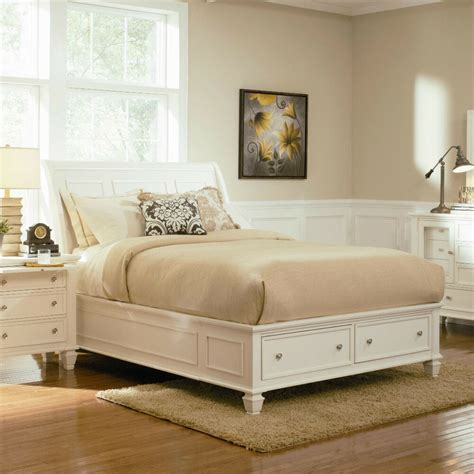 White Bed Set by Stylish Soft White King Storage Sleigh Bed Bedroom