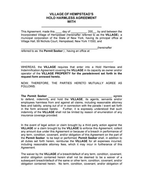 waiver agreement template 40 hold harmless agreement templates free template lab
