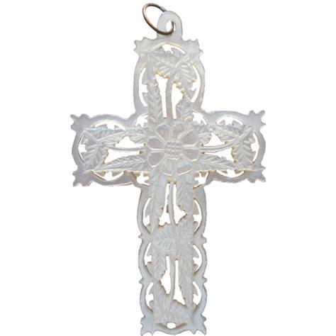 of pearl l bethlehem of pearl vintage carved cross pendant