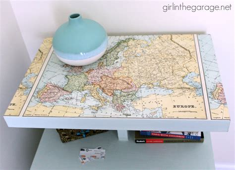 Decoupage Map - decoupaged map table themed furniture makeover day