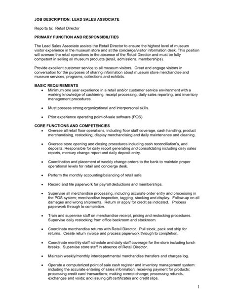 Maintenance Worker Description Sle Resume 5 Retail Sales Associate Description For Resume Duties Description Of A Retail Sales