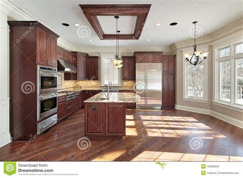 kitchen island construction kitchen and island in new construction home stock images