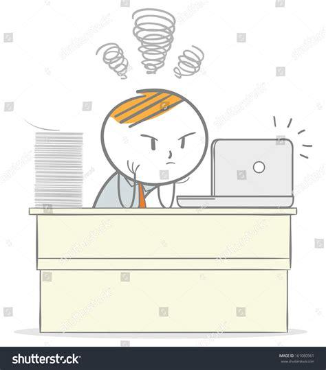 doodle questionnaire doodle stick figure overworked businessman stock vector