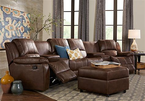 brown sectional living room saybrook brown 6 pc reclining sectional living room