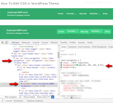 wordpress theme editor css wordpress custom css using chrome developer tools