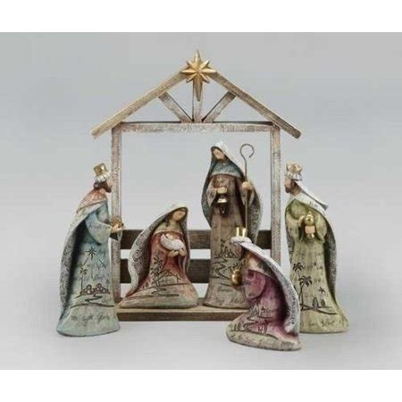 christmas stable walmart 6 religious wooden look nativity figure set with stable 12 25 quot walmart