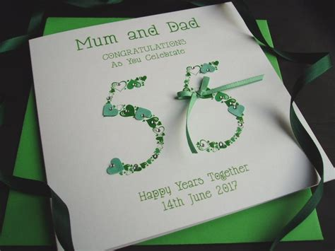 Emerald Wedding Anniversary Card Uk by Emerald Numbers Wedding Anniversary Card Handmade