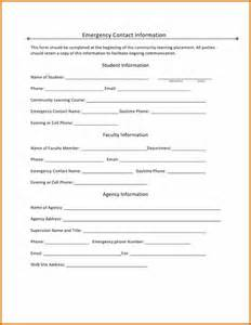 9 emergency information form plantemplate info
