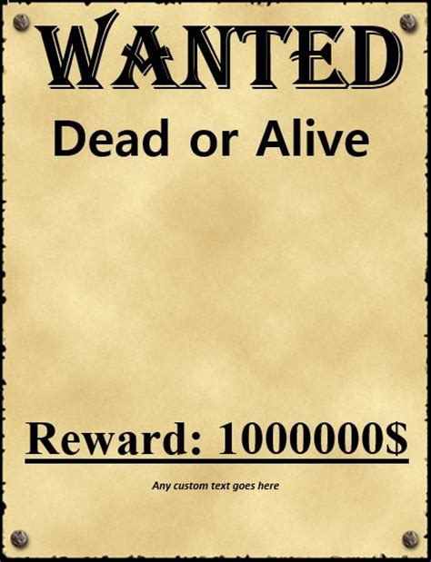 Image Gallery Wanted Sign Western Wanted Poster Template