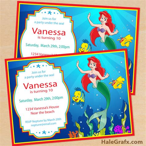 printable birthday invitations ariel free printable disney little mermaid birthday invitation