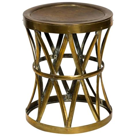 Drum Stool Table by Vintage Brass Drum Stool Table At 1stdibs