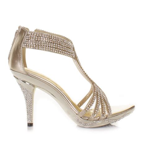 sandals gold womens diamante wedding high heel prom shoes