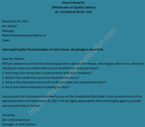 Inquiry Letter With Questions Sle Of Business Status Inquiry Letter