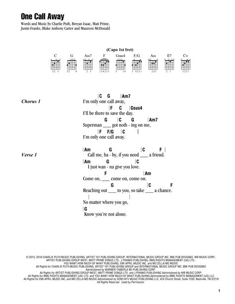 charlie puth guitar chords one call away sheet music by charlie puth lyrics chords