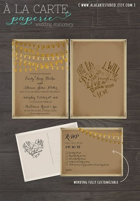 Rustic Wedding Invitation Card RSVP Set This day I will