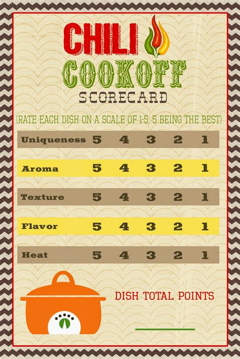 Chili Cook Off Score Card | a pocket full of lds prints chili cook off scorecard
