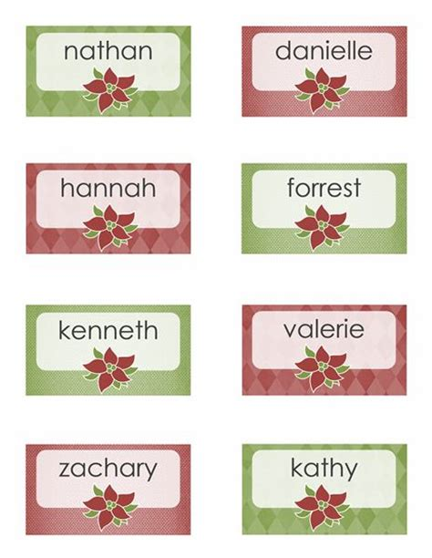 Table Setting Name Cards Template by Place Cards Poinsettia Design 8 Per Page