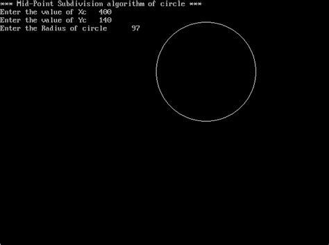 C Drawing Circle by C Program For Drawing A Circle Using Midpoint Circle