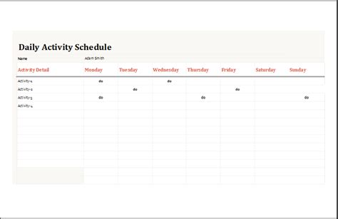 activity planner template daily activity planner