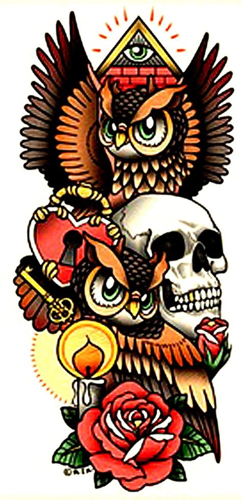 owl tattoo flash flash of owls skull lock and key