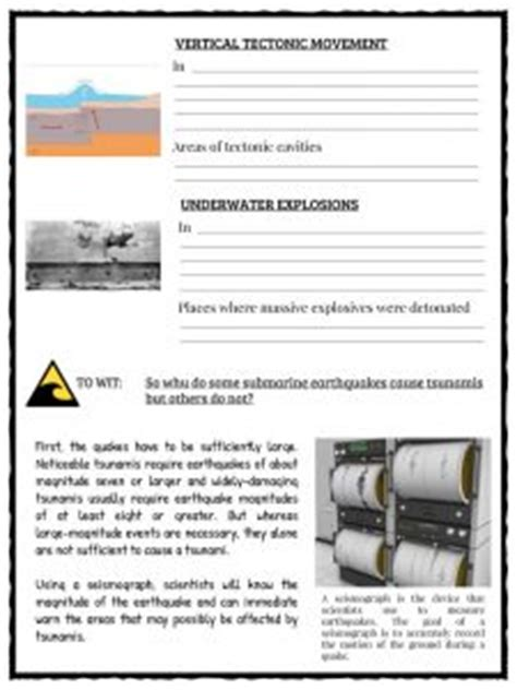 Tsunami Worksheet by Tsunami Facts Worksheets Historical Information For