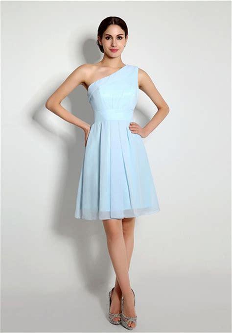 light blue chiffon dress a line one shoulder light blue chiffon bridesmaid