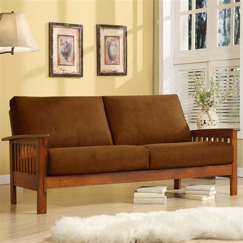 house of oak and sofa oxford creek marlin mission inspired sofa in rust