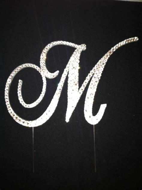 Letter M Swarovski Crystal Monogram Cake Topper M Monogram Wedding Cake Toppers