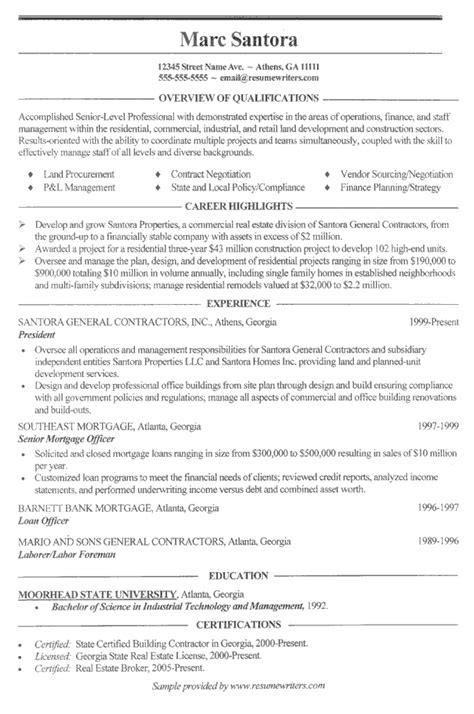sample resume municipal construction superintendent resume exles