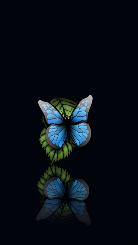 blue butterfly black background iphone   hd wallpaper