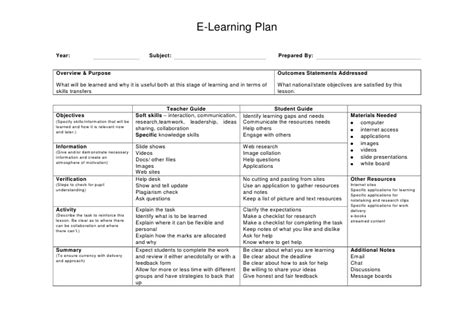 learn lesson plan template e learning lesson plan