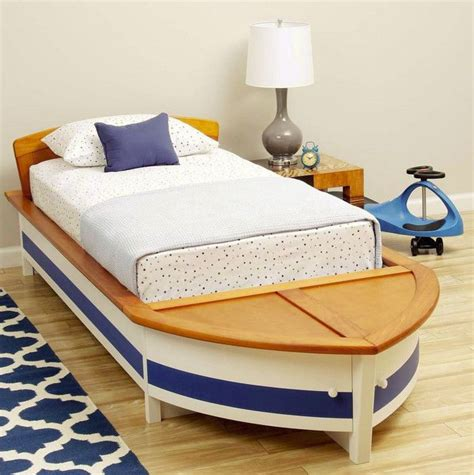toddler boat bed kids boys girls nautical sail boat twin bed wood storage