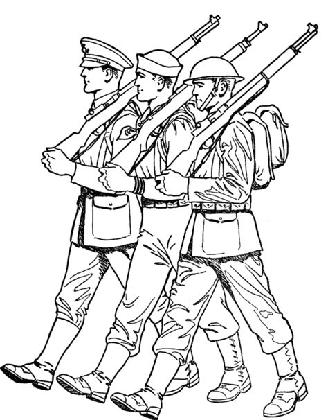 march on line soldiers marching veterans day coloring pages