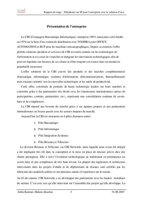 Lettre Présentation De L Entreprise Exemple Rapport De Stage Presentation Entreprise Document