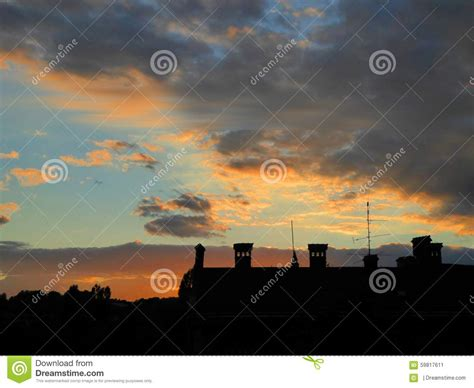 roof in sunset roof in sunset background stock photo image 59817611