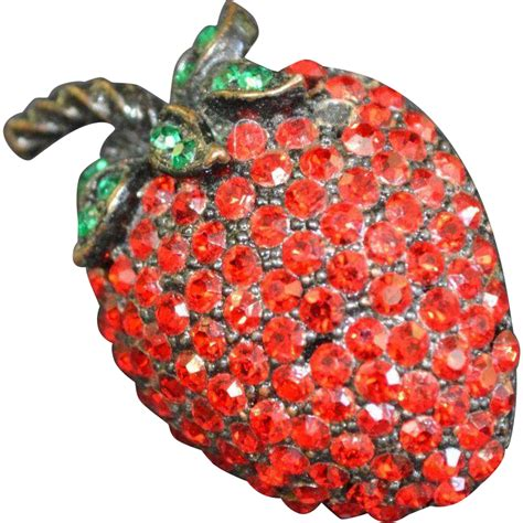 Pin Fashionable Strawberry weiss strawberry brooch pin from ajax vintage shop on ruby