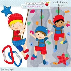 rock wall climbing boys cute digital clipart commercial use