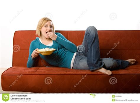 Woman Eating On Couch Royalty Free Stock Image Image