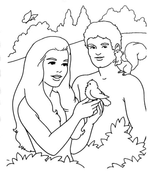 adam and eve in garden coloring page
