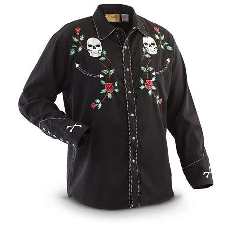 Mine Black Rosey Blouse scully s skull and western shirt 284914 shirts at sportsman s guide