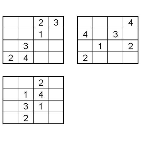 printable sudoku 4x4 printable sudoku puzzles 4x4