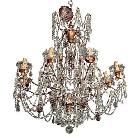 Bobeches For Chandeliers Eight Light Italian Chandelier With Gilt Wood Bobeches Item 4391
