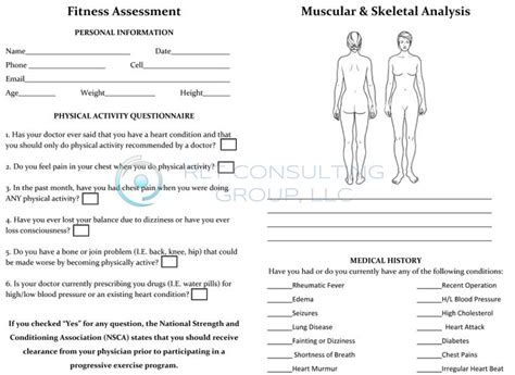 fitness appraisal template 17 best images about health and fitness on